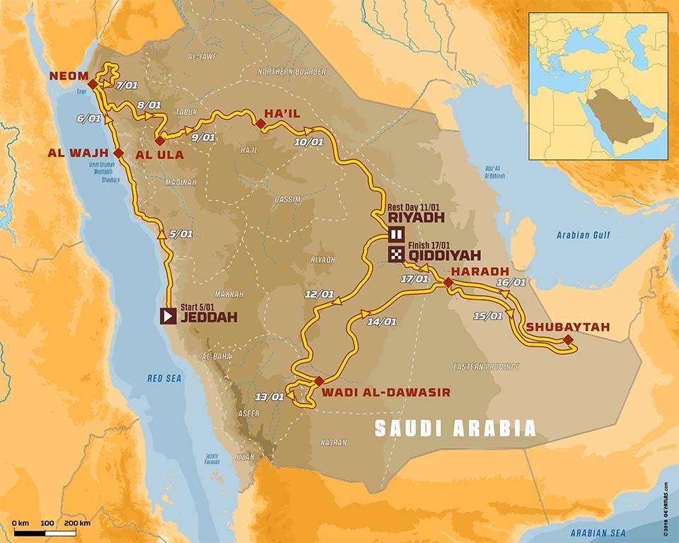 Mapa Dakar 2020